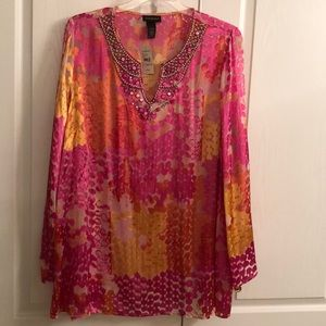 Eloquent long sleeve sheer tunic